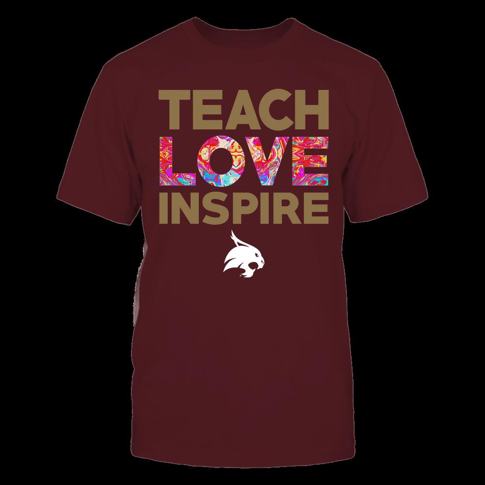 Texas State Bobcats - Teacher - Teach Love Inspire - Rainbow Swirl Front picture