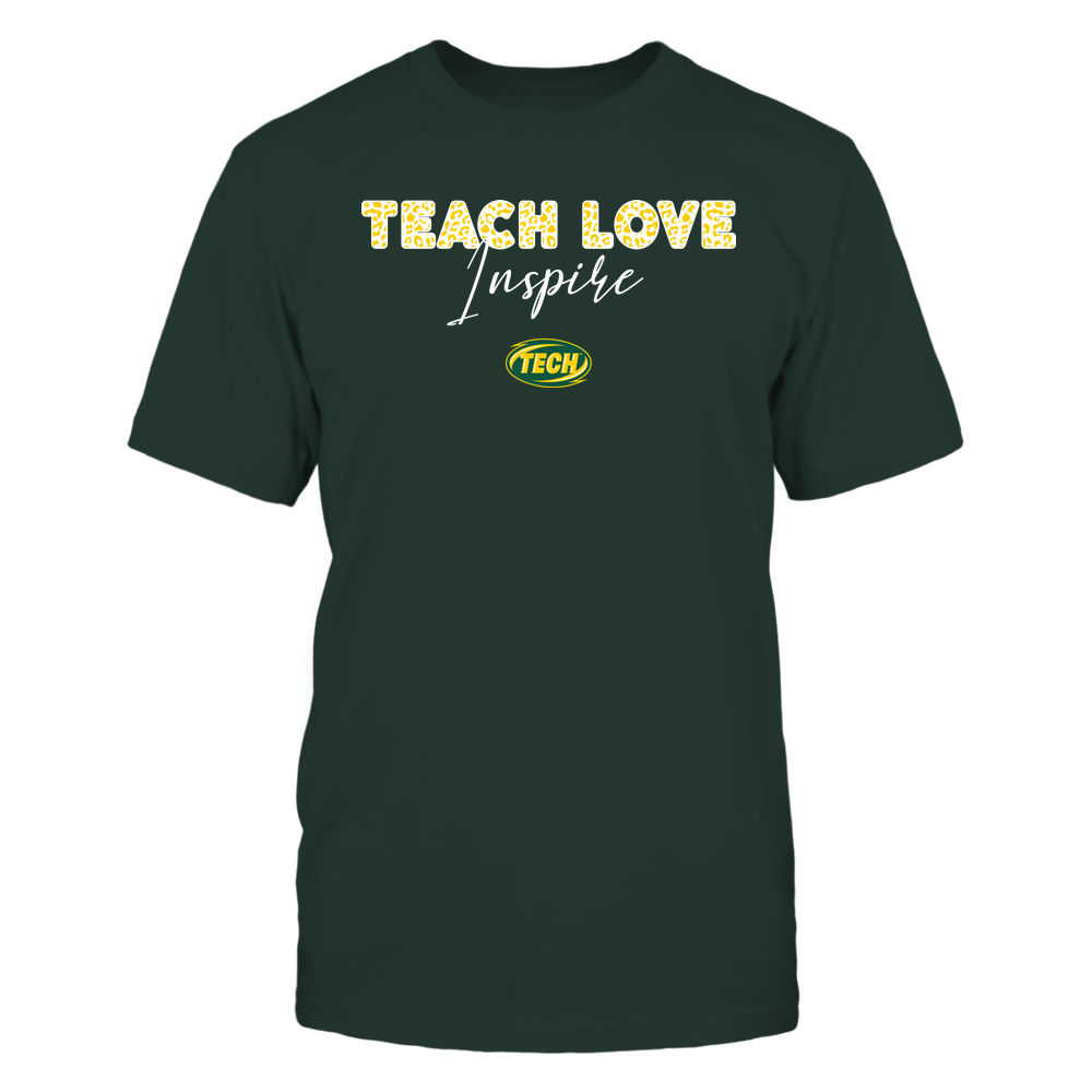 Arkansas Tech Golden Suns - Teacher - Teach Love Inspire - Leopard Swirly Font Front picture