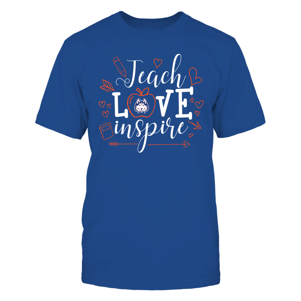 Houston Baptist Huskies - Teacher - Teach Love Inspire Handrawn Ornaments - Team Front picture