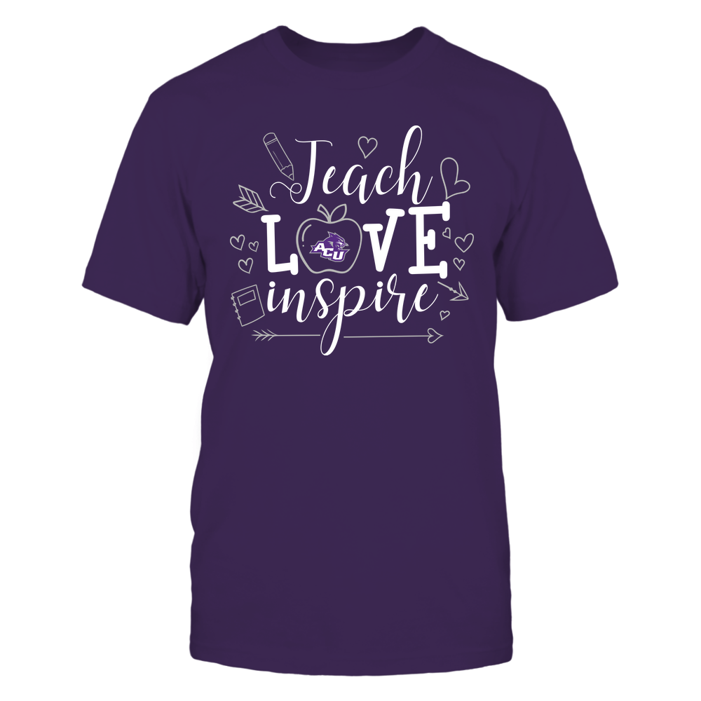 Abilene Christian Wildcats - Teacher - Teach Love Inspire Handrawn Ornaments - Team Front picture