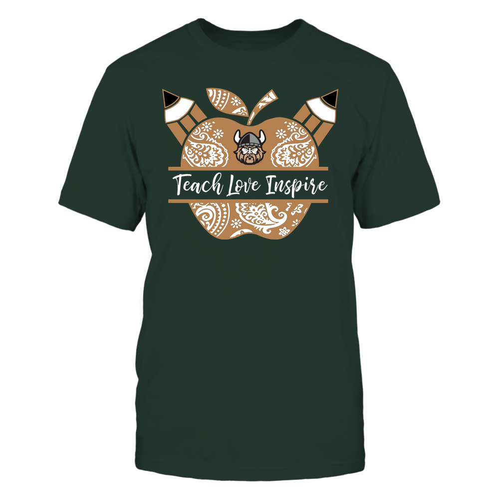Cleveland State Vikings - Teacher - Teach Love Inspire Monogrammed Apple - Team Front picture