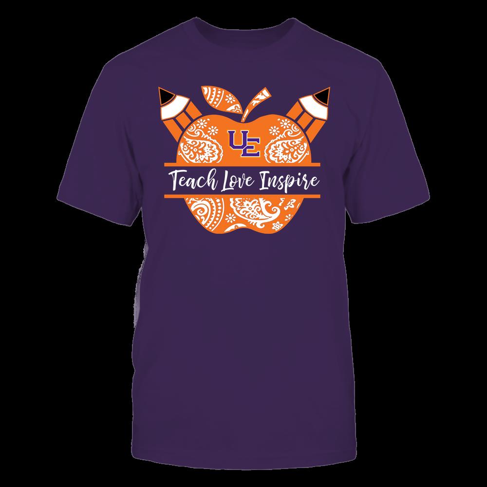 Evansville Purple Aces - Teacher - Teach Love Inspire Monogrammed Apple - Team Front picture
