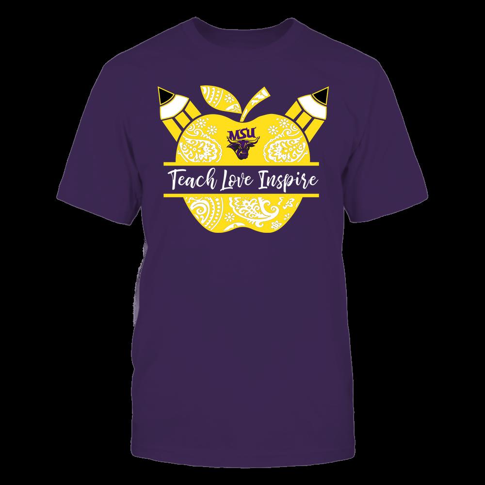 Minnesota State Mavericks - Teacher - Teach Love Inspire Monogrammed Apple - Team Front picture