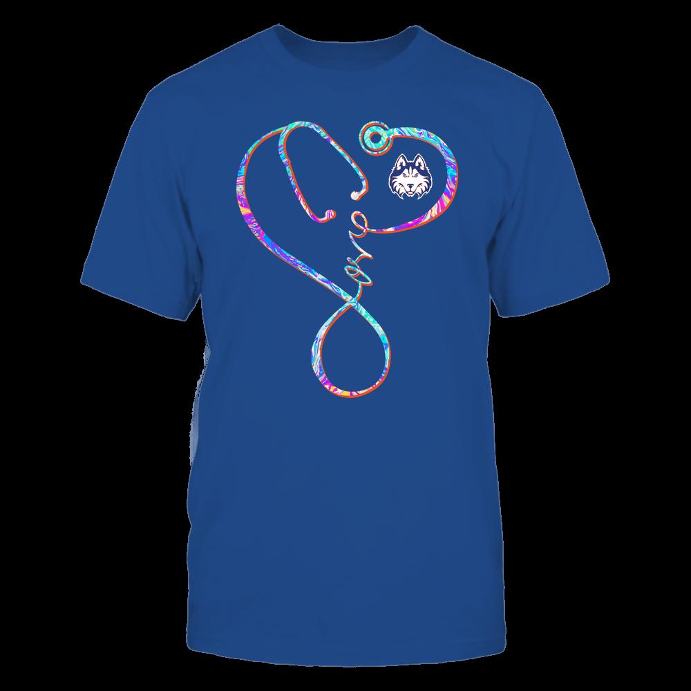 Houston Baptist Huskies - Nurse - Infinity Love Stethoscope Rainbow Swirl - Team Front picture