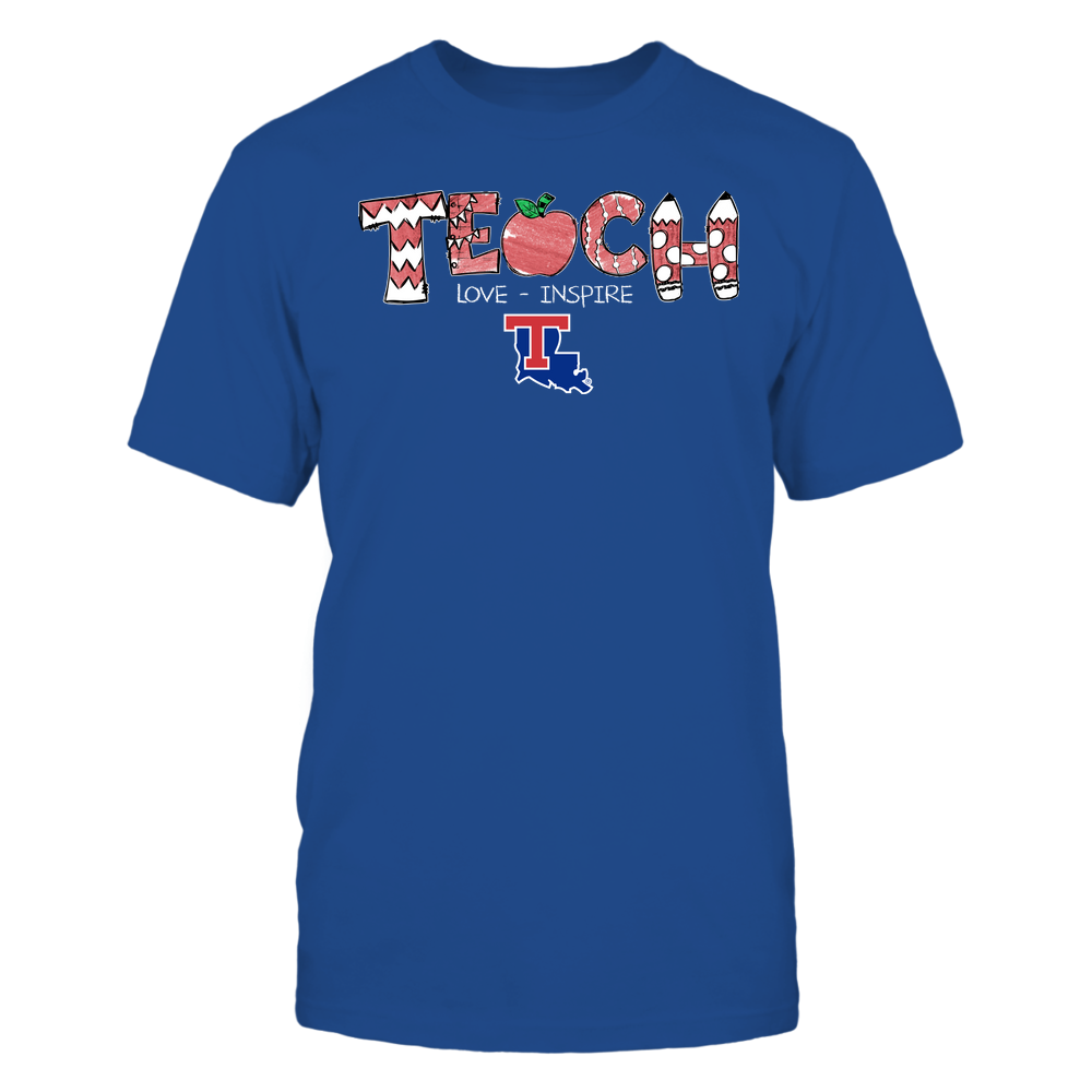 Louisiana Tech Bulldogs - Teacher - Teach Love Inspire - Hand Drawn Front picture