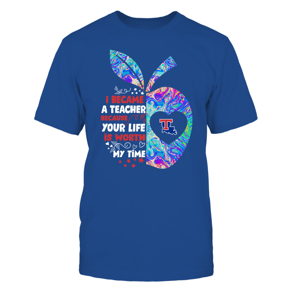 Louisiana Tech Bulldogs - Teacher - I Became A Teacher Because Your Life Is Worth My Time - Half Apple - Rainbow Swirl Front picture