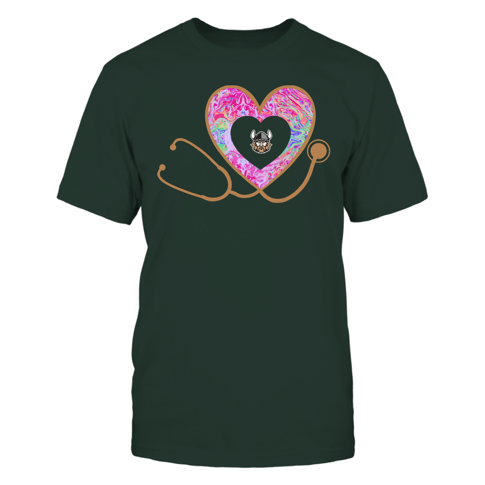 Cleveland State Vikings - Nurse - Heart Stethoscope - Rainbow Swirl Front picture