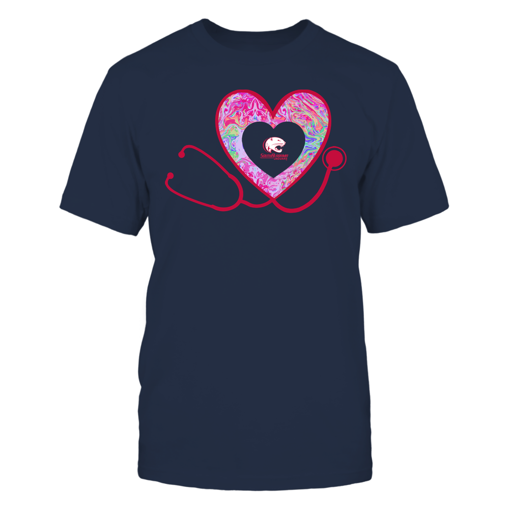 South Alabama Jaguars - Nurse - Heart Stethoscope - Rainbow Swirl Front picture