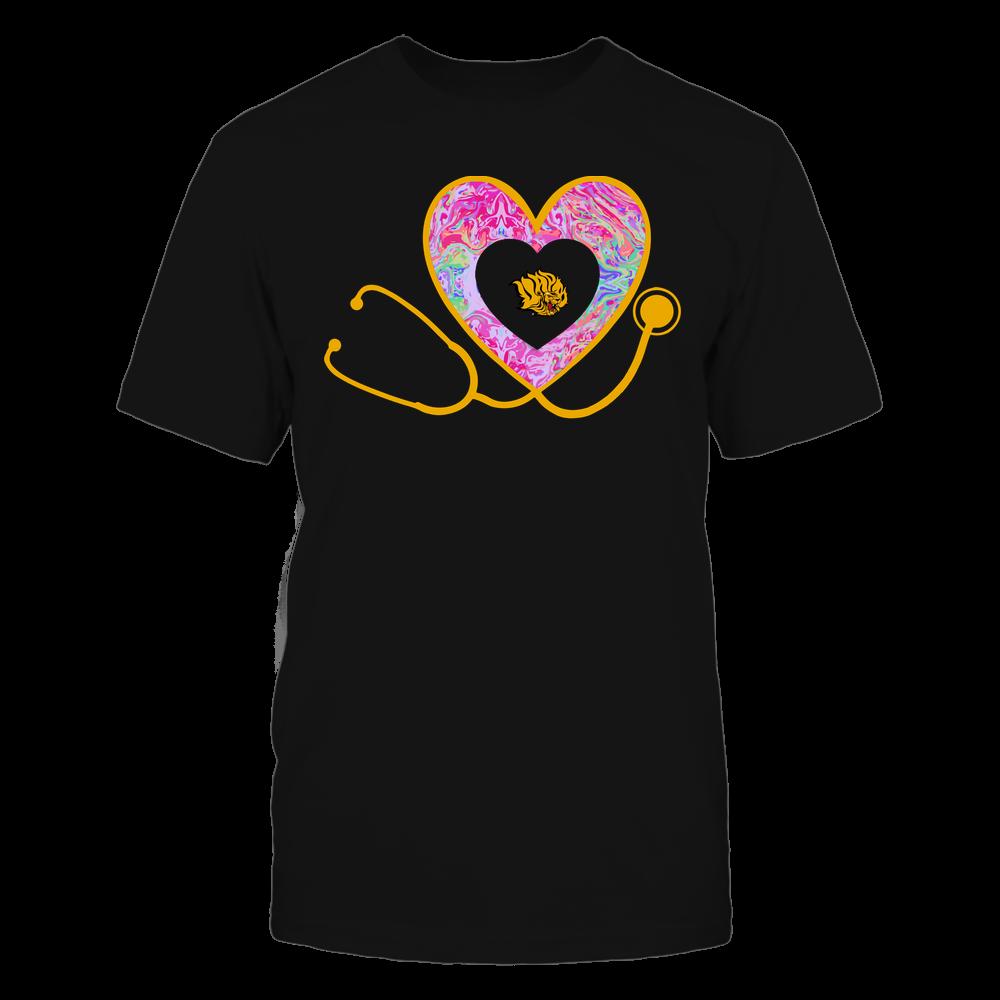 Arkansas Pine Bluff Golden Lions - Nurse - Heart Stethoscope - Rainbow Swirl Front picture