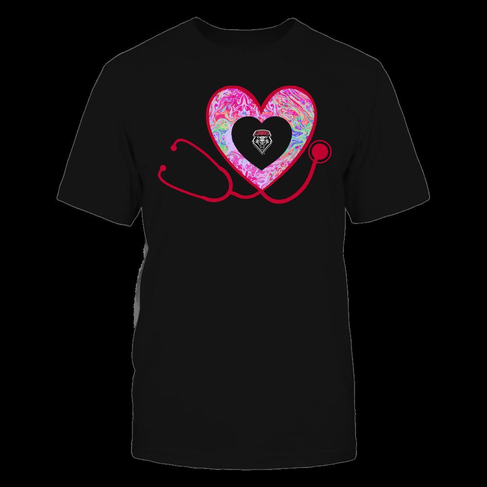 New Mexico Lobos - Nurse - Heart Stethoscope - Rainbow Swirl Front picture