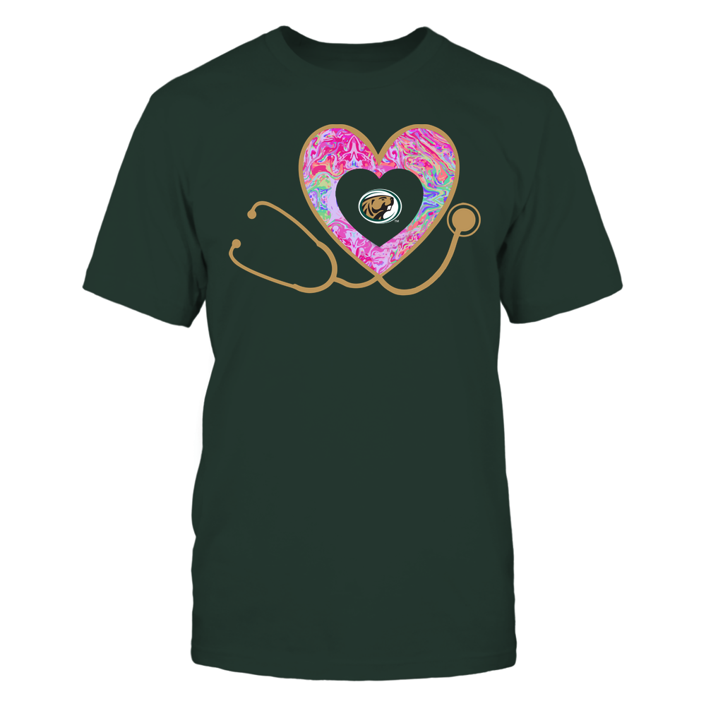 Bemidji State Beavers - Nurse - Heart Stethoscope - Rainbow Swirl Front picture