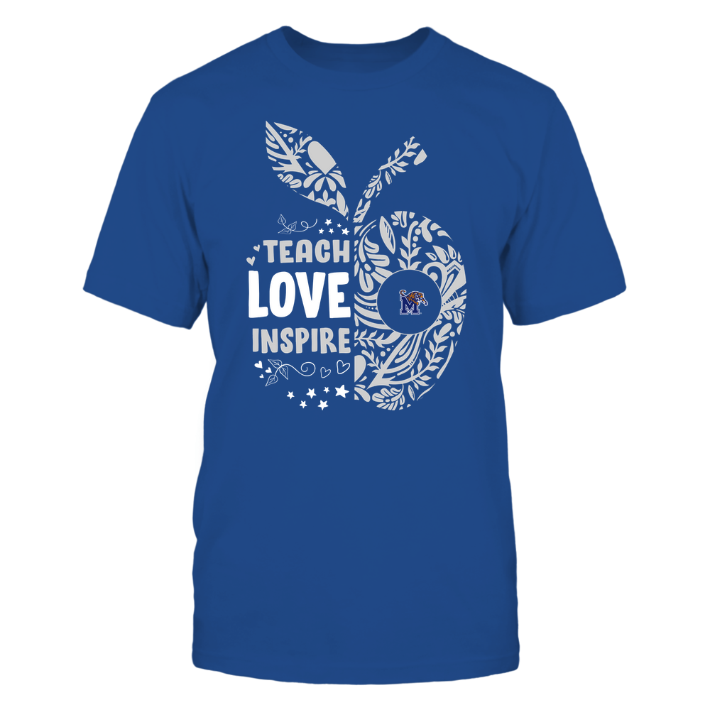 Memphis Tigers - Teacher - Teach Love Inspire Lace Pattern Half Apple - Team Front picture