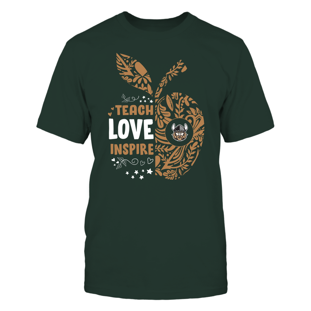 Cleveland State Vikings - Teacher - Teach Love Inspire Lace Pattern Half Apple - Team Front picture