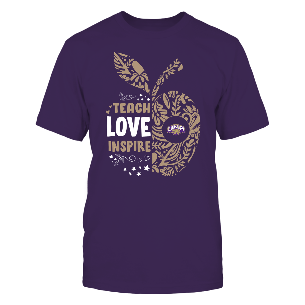 North Alabama Lions - Teacher - Teach Love Inspire Lace Pattern Half Apple - Team Front picture