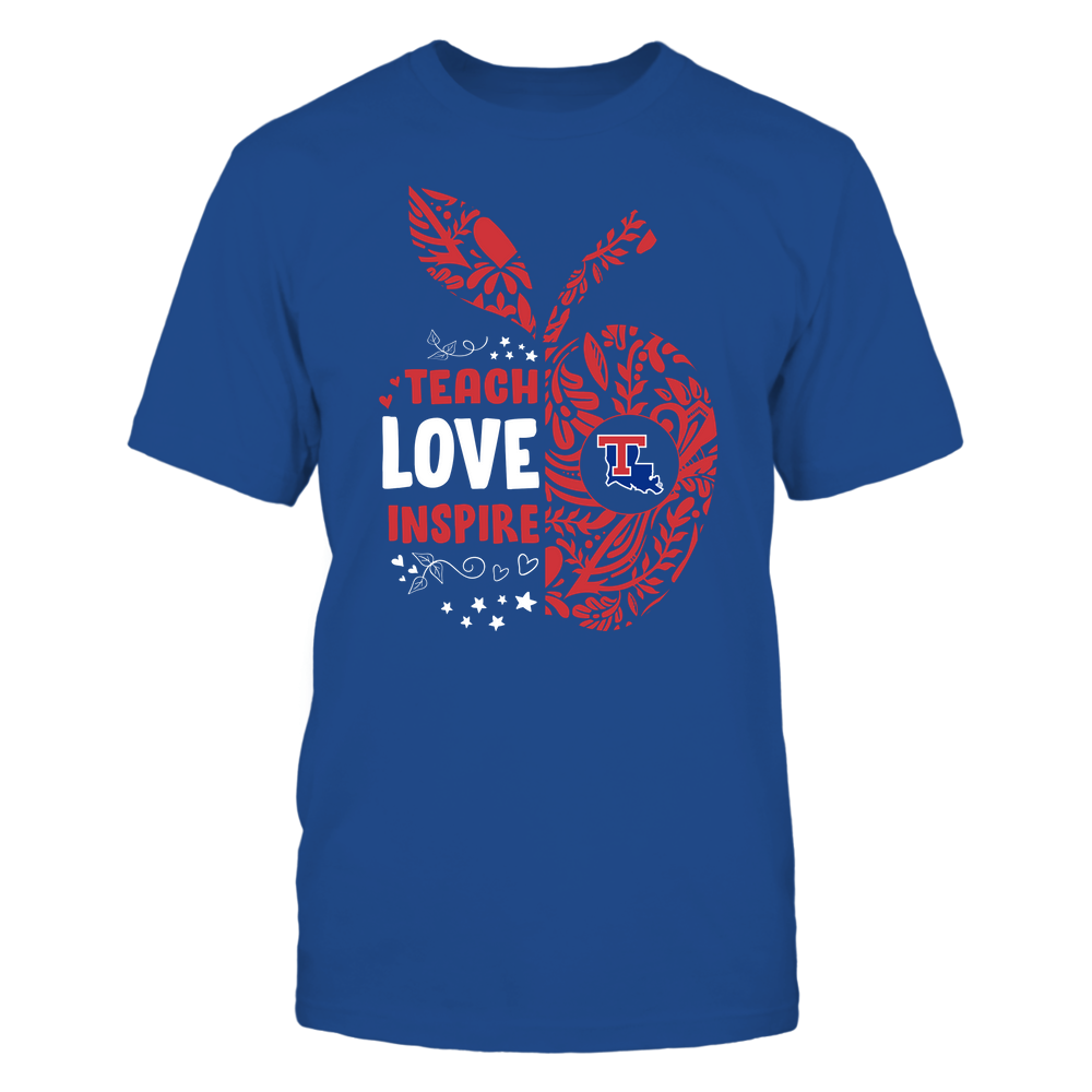 Louisiana Tech Bulldogs - Teacher - Teach Love Inspire Lace Pattern Half Apple - Team Front picture