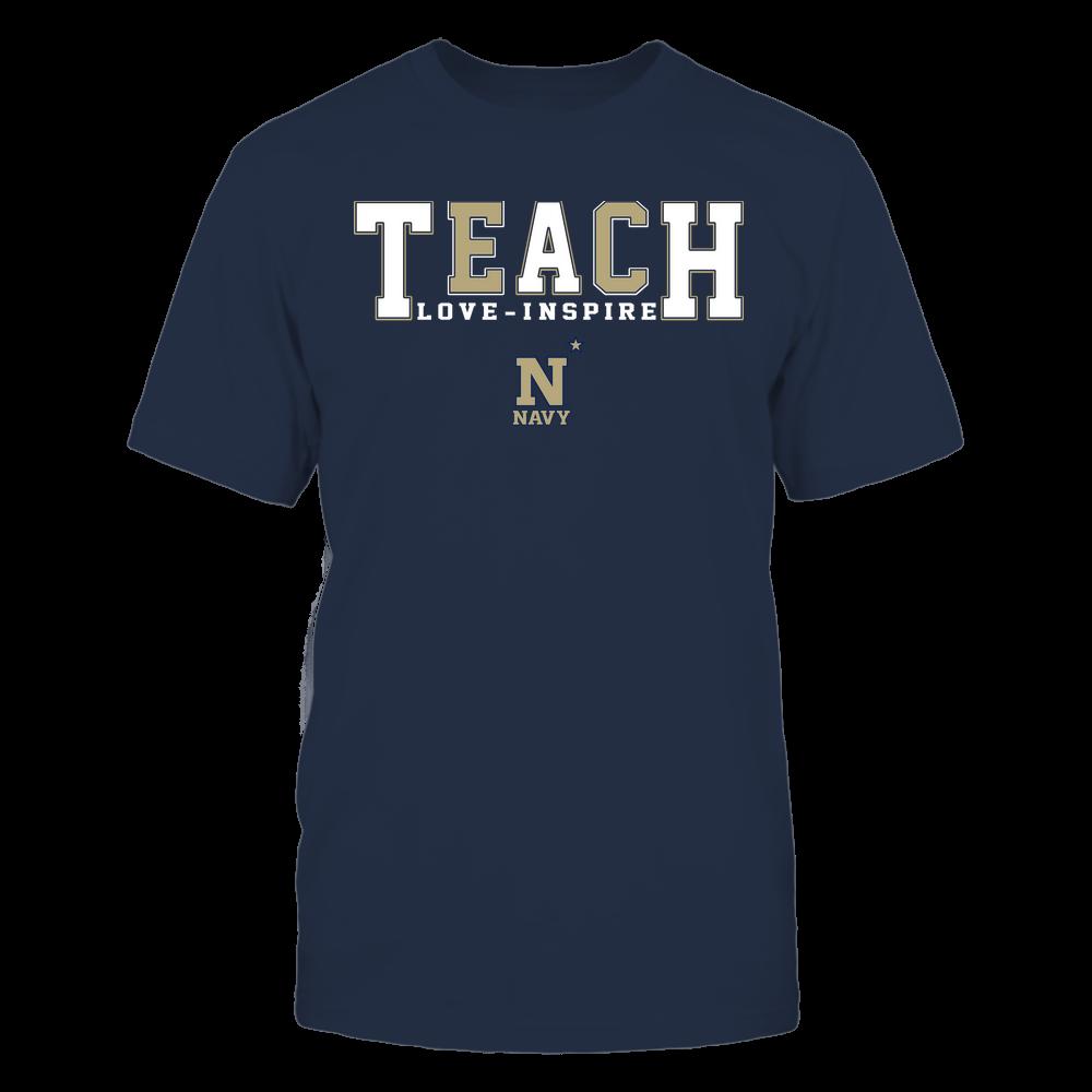 Navy Midshipmen - Teacher - Teach Love Inspire - Colorblock Front picture