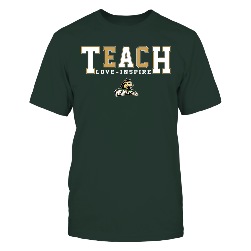 Wright State Raiders - Teacher - Teach Love Inspire - Colorblock Front picture