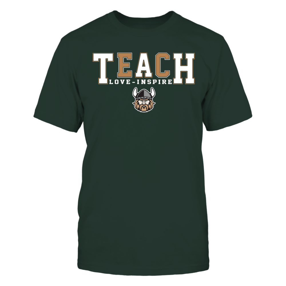 Cleveland State Vikings - Teacher - Teach Love Inspire - Colorblock Front picture