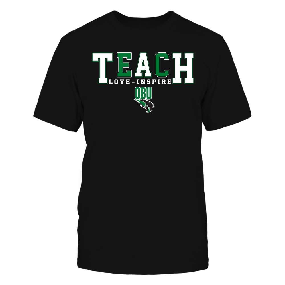 Oklahoma Baptist Bison - Teacher - Teach Love Inspire - Colorblock Front picture