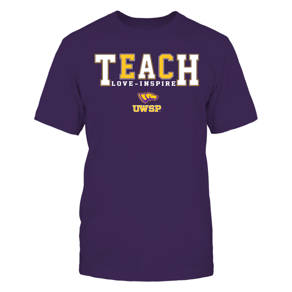 Wisconsin-Stevens Point Pointers - Teacher - Teach Love Inspire - Colorblock Front picture