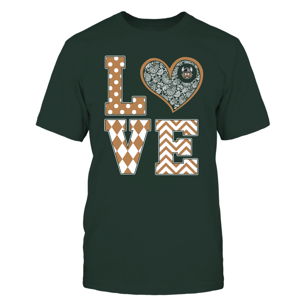Cleveland State Vikings - Stacked Love Patterned - Heart Paisley - Team Front picture