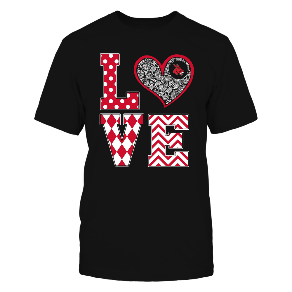 Central Missouri Mules - Stacked Love Patterned - Heart Paisley - Team Front picture