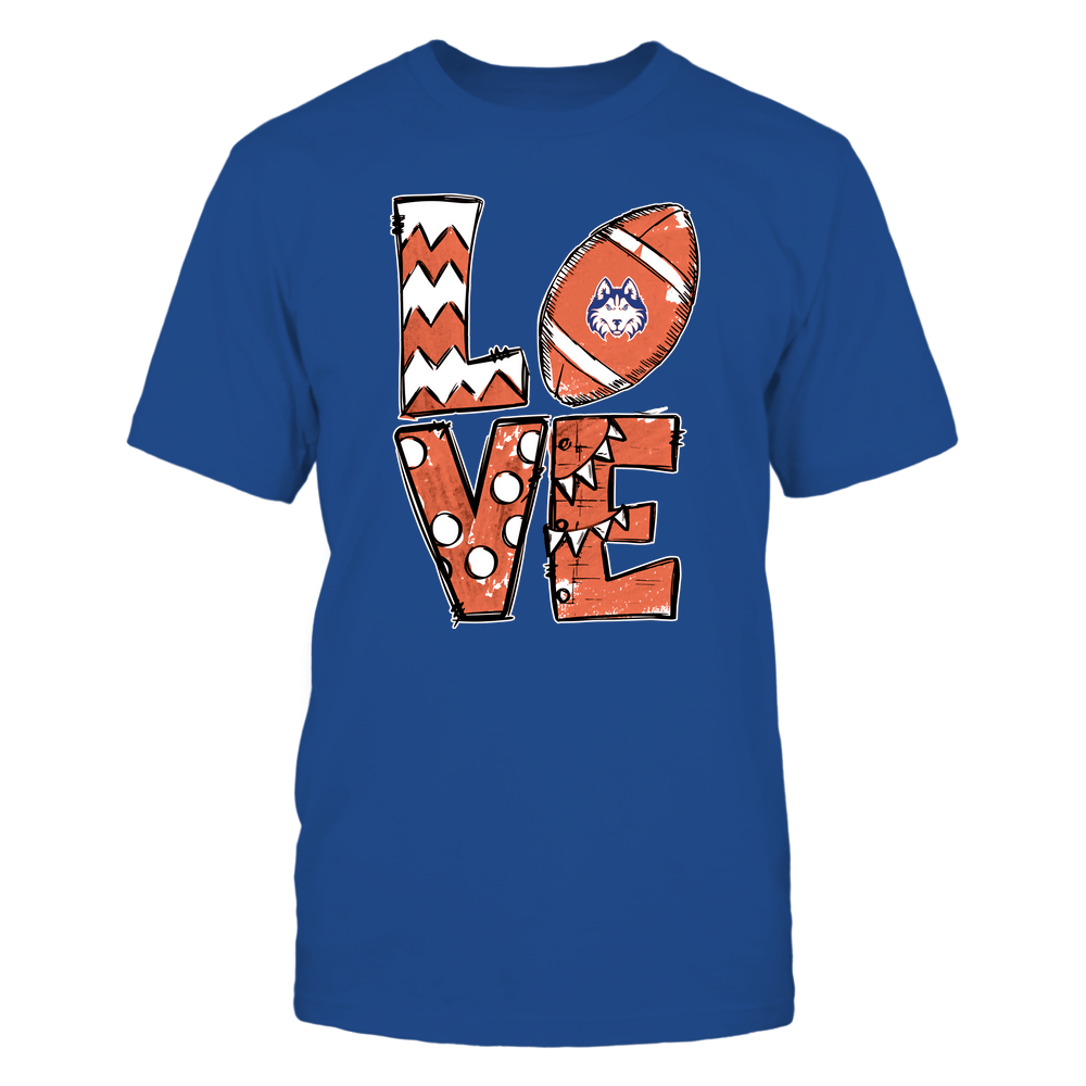 Houston Baptist Huskies - Football - Stacked Love Football - Hand Drawn Front picture