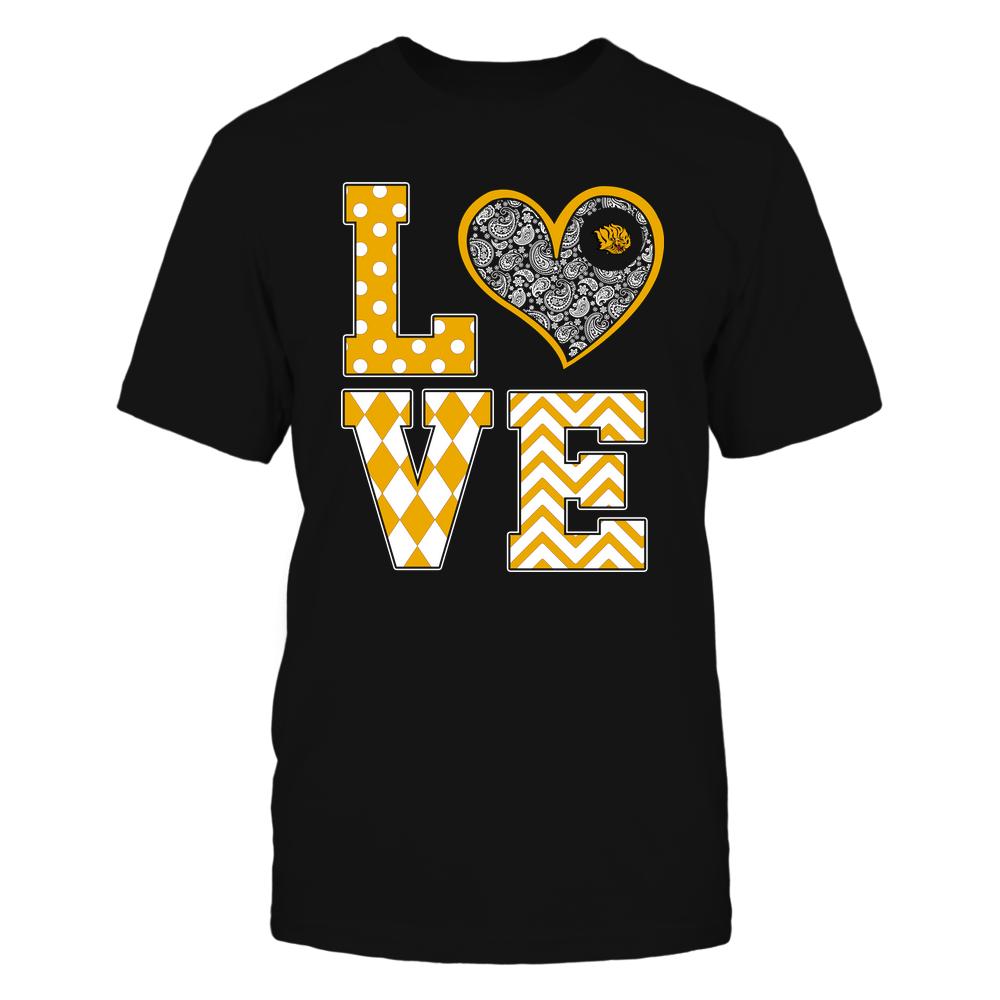 Arkansas Pine Bluff Golden Lions - Stacked Love Patterned - Heart Paisley - Team Front picture