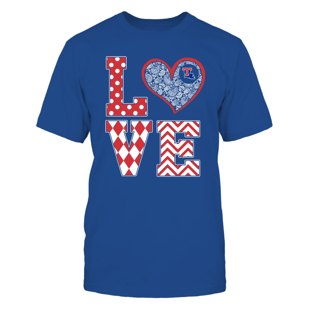 Louisiana Tech Bulldogs - Stacked Love Patterned - Heart Paisley - Team Front picture