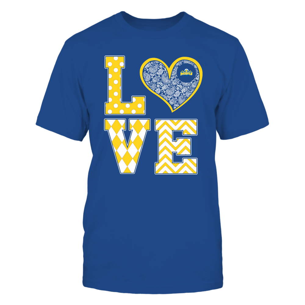 Morehead State Eagles - Stacked Love Patterned - Heart Paisley - Team Front picture