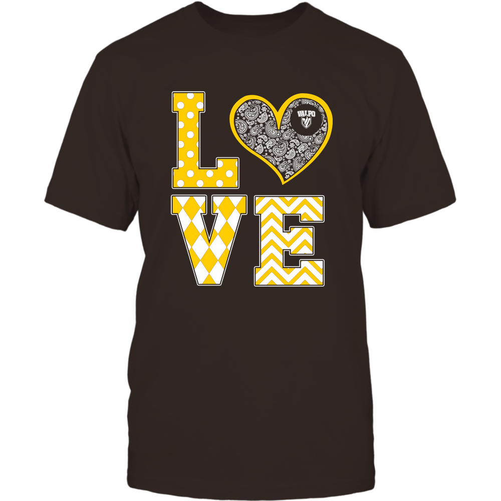 Valparaiso Crusaders - Stacked Love Patterned - Heart Paisley - Team Front picture