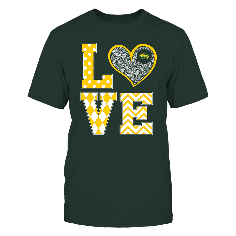 Arkansas Tech Golden Suns - Stacked Love Patterned - Heart Paisley - Team Front picture
