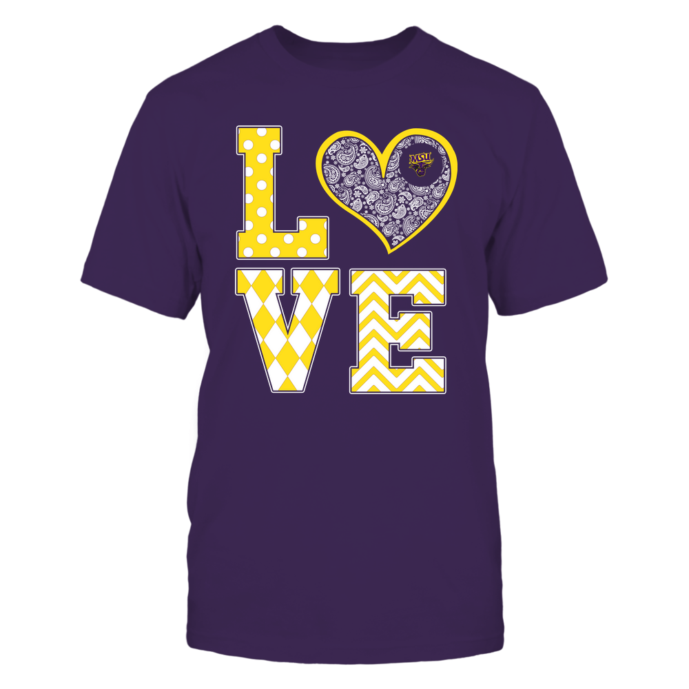 Minnesota State Mavericks - Stacked Love Patterned - Heart Paisley - Team Front picture