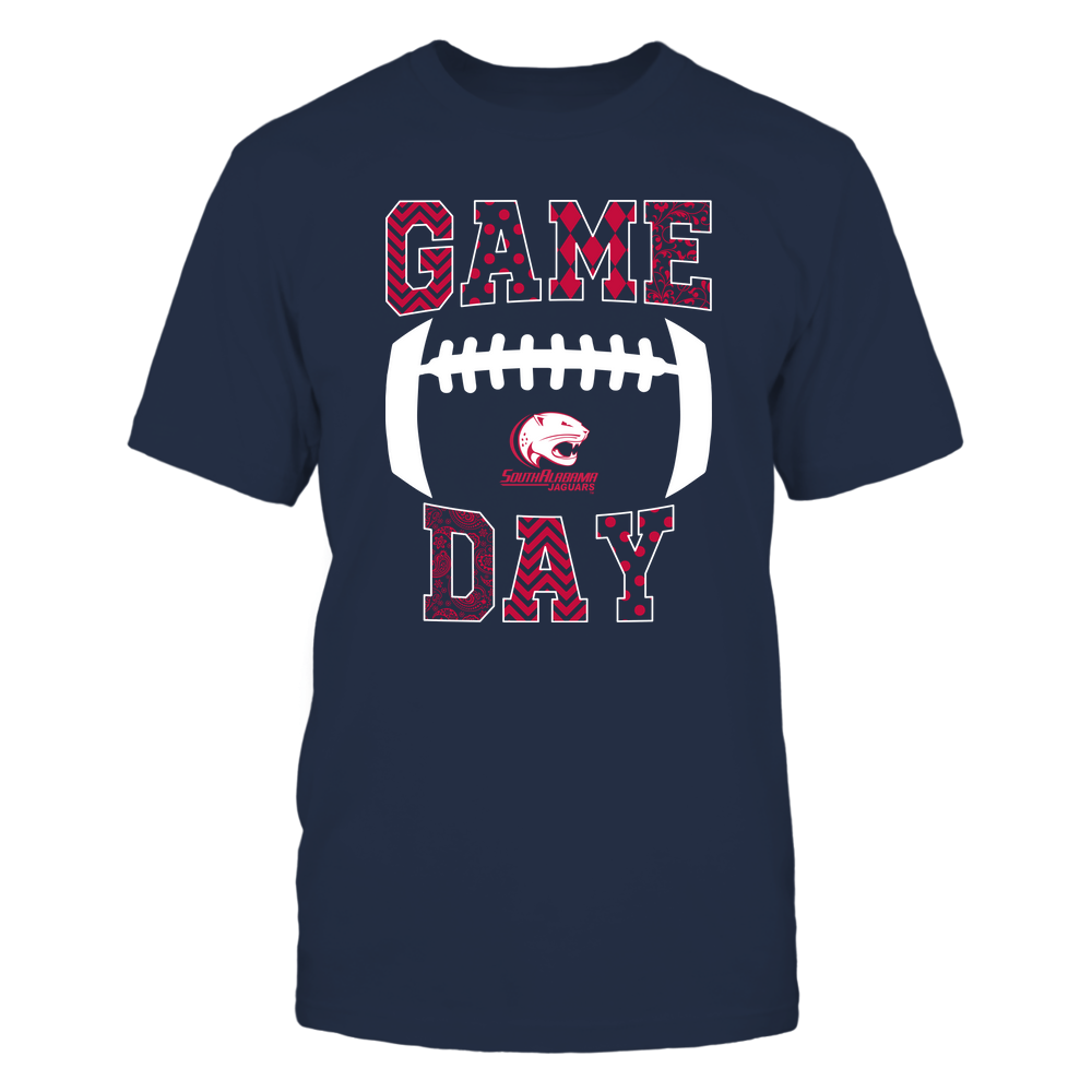 South Alabama Jaguars - Football - Game Day - Patterned Football Outline Front picture
