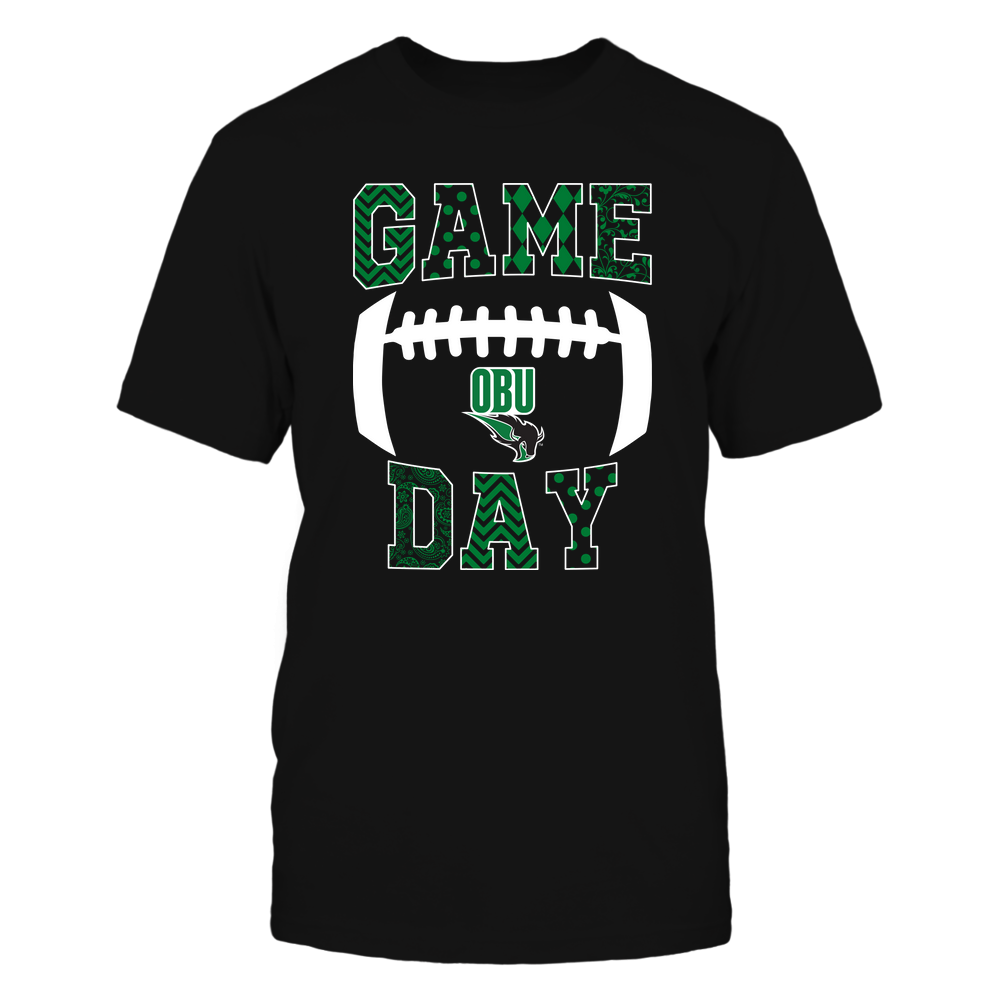 Oklahoma Baptist Bison - Football - Game Day - Patterned Football Outline Front picture