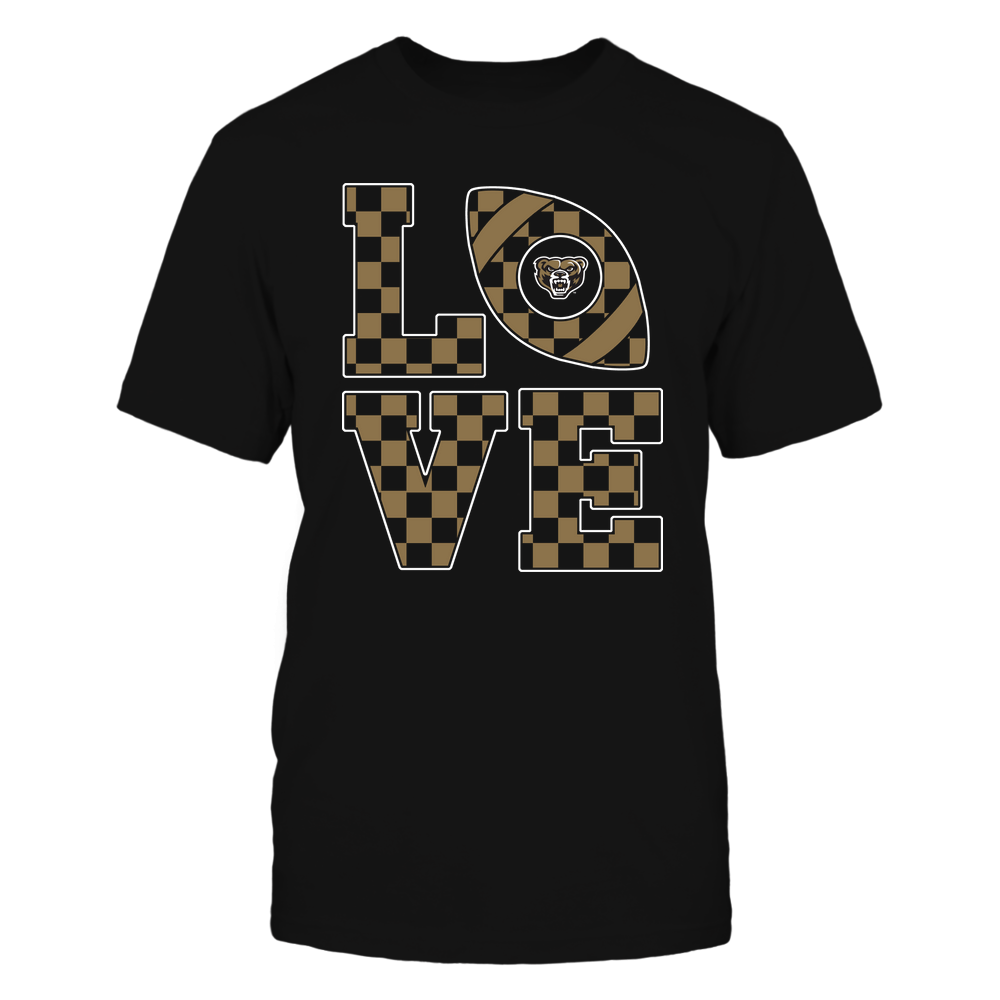 Oakland Golden Grizzlies - Stacked Love Football - Checkerboard Pattern Front picture