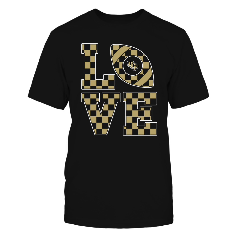UCF Knights - Stacked Love Football - Checkerboard Pattern Front picture