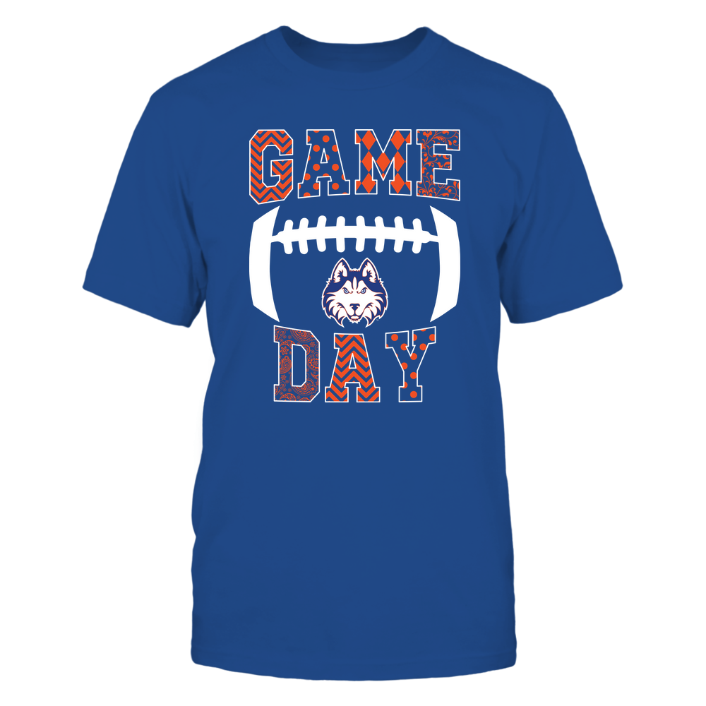 Houston Baptist Huskies - Football - Game Day - Patterned Football Outline Front picture