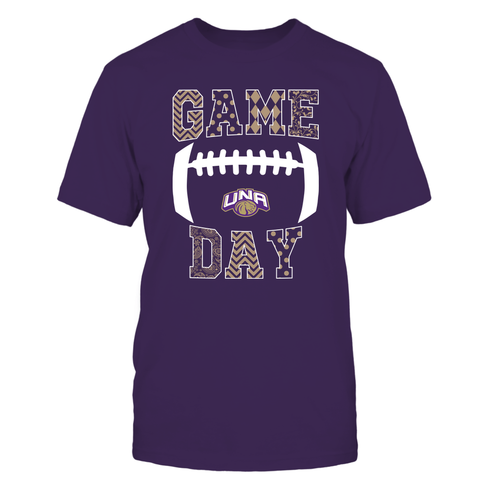 North Alabama Lions - Football - Game Day - Patterned Football Outline Front picture