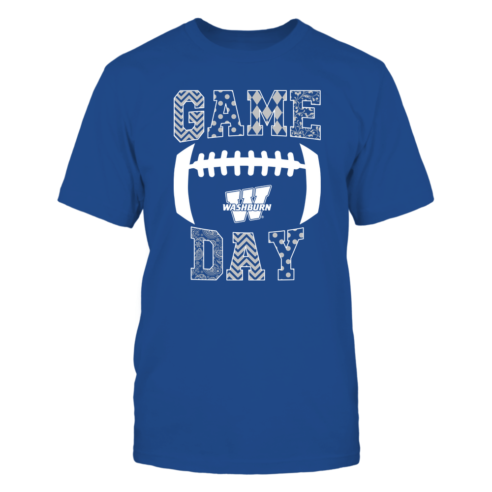 Washburn Ichabods - Football - Game Day - Patterned Football Outline Front picture