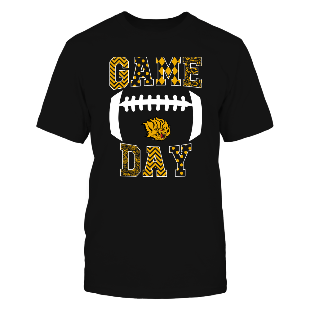 Arkansas Pine Bluff Golden Lions - Football - Game Day - Patterned Football Outline Front picture