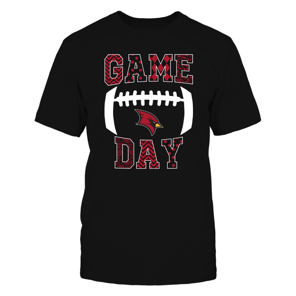 Saginaw Valley State Cardinals - Football - Game Day - Patterned Football Outline Front picture
