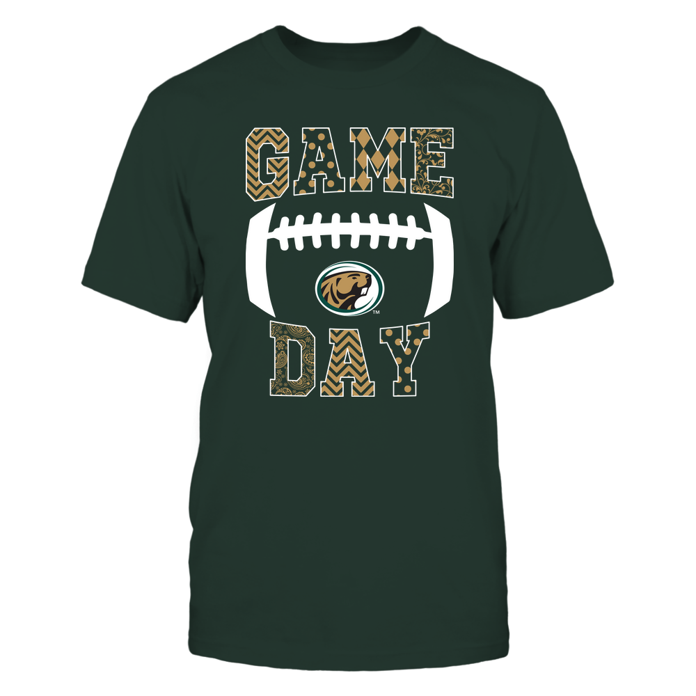 Bemidji State Beavers - Football - Game Day - Patterned Football Outline Front picture