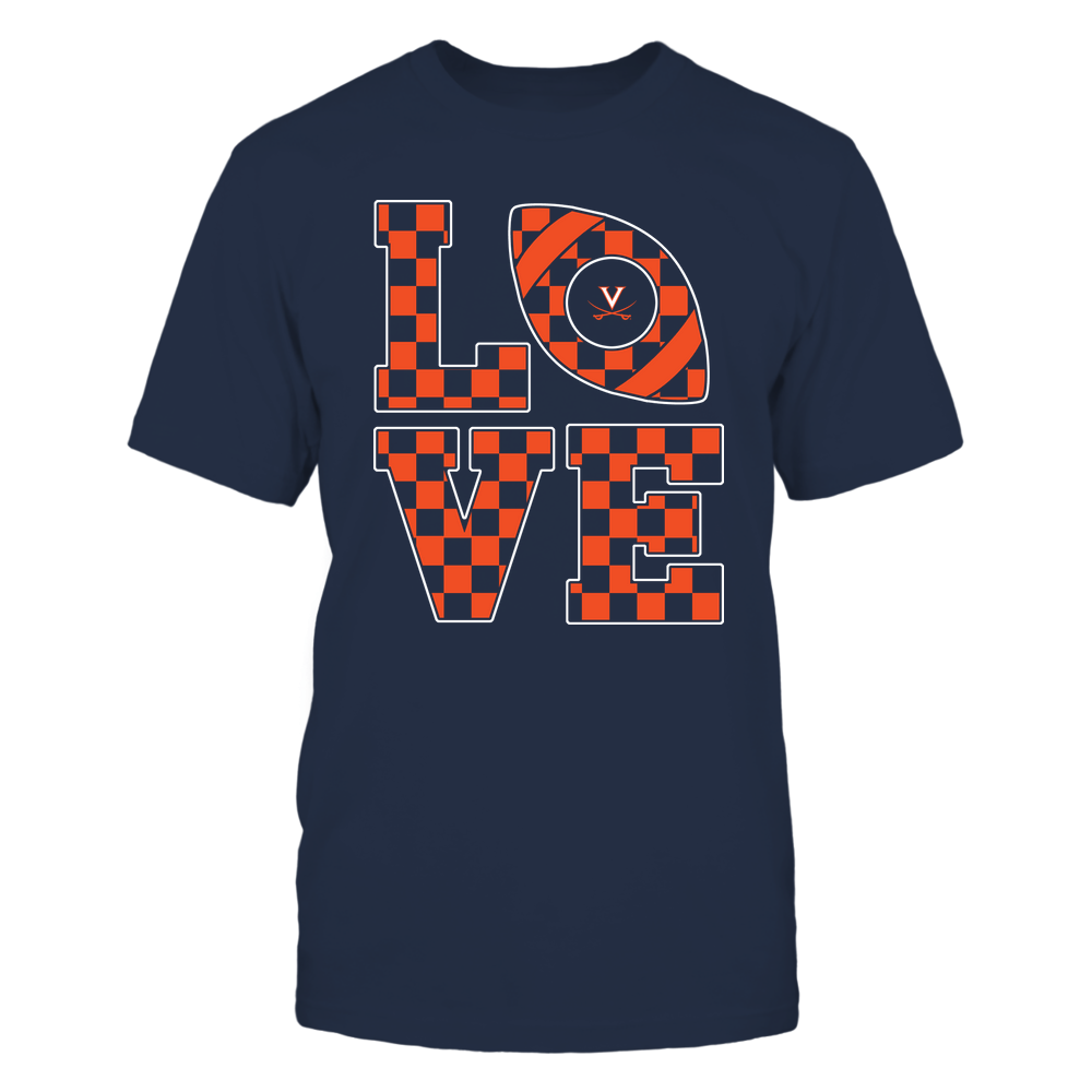 Virginia Cavaliers - Stacked Love Football - Checkerboard Pattern Front picture