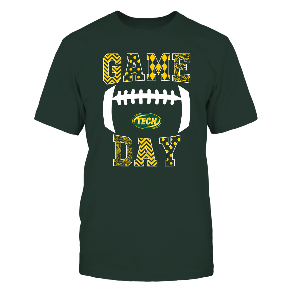 Arkansas Tech Golden Suns - Football - Game Day - Patterned Football Outline Front picture
