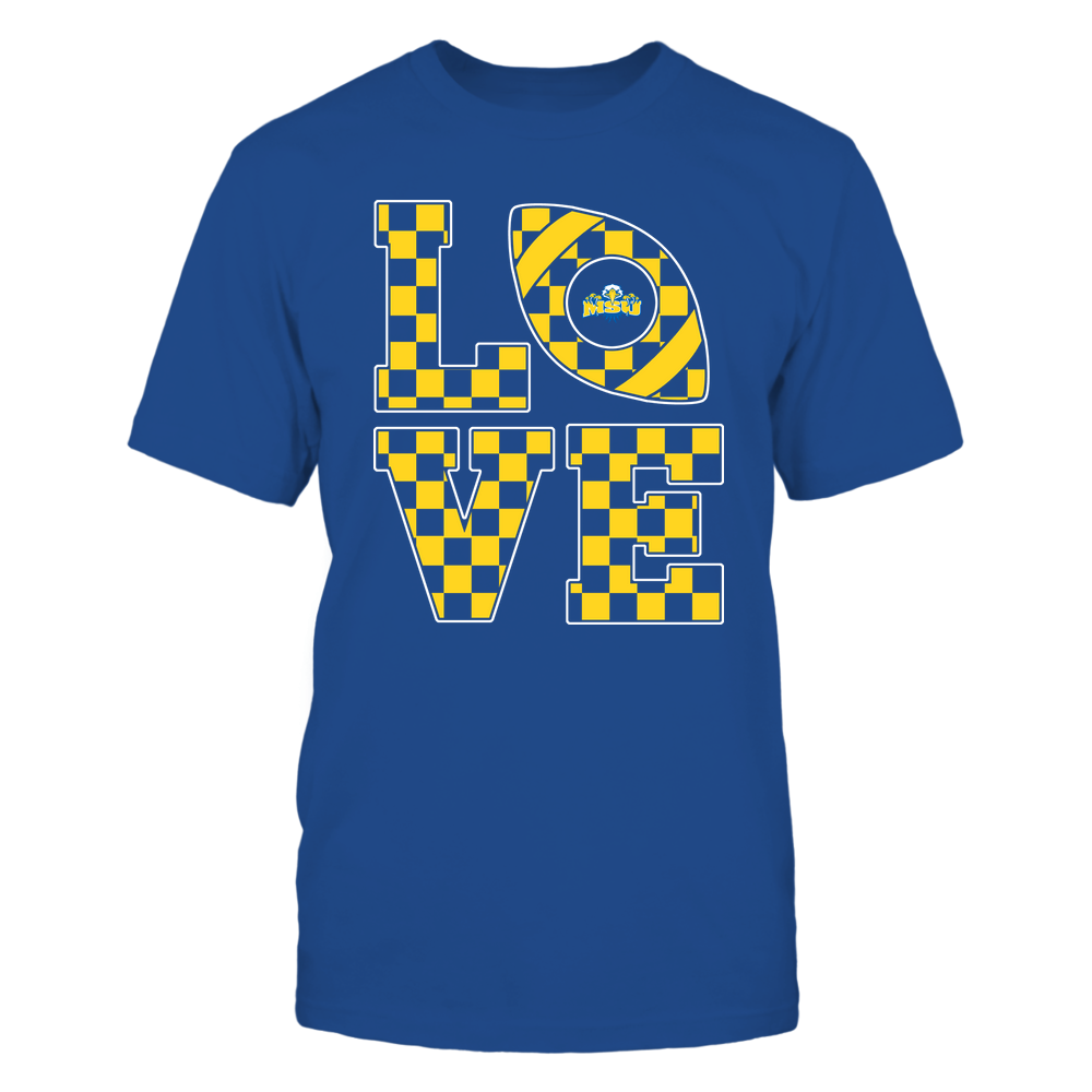 Morehead State Eagles - Stacked Love Football - Checkerboard Pattern Front picture