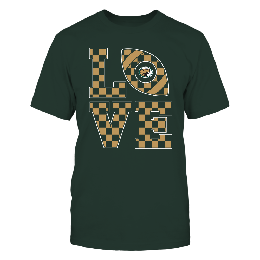 Bemidji State Beavers - Stacked Love Football - Checkerboard Pattern Front picture
