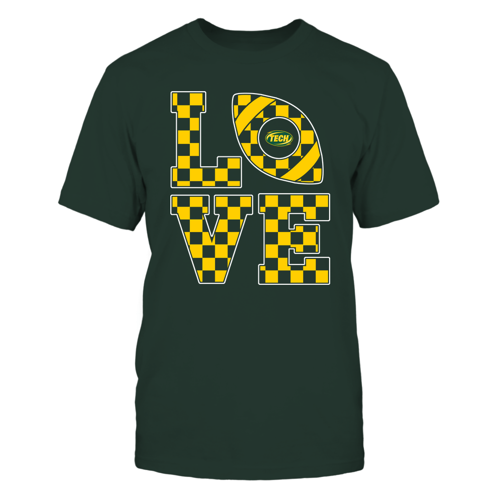 Arkansas Tech Golden Suns - Stacked Love Football - Checkerboard Pattern Front picture