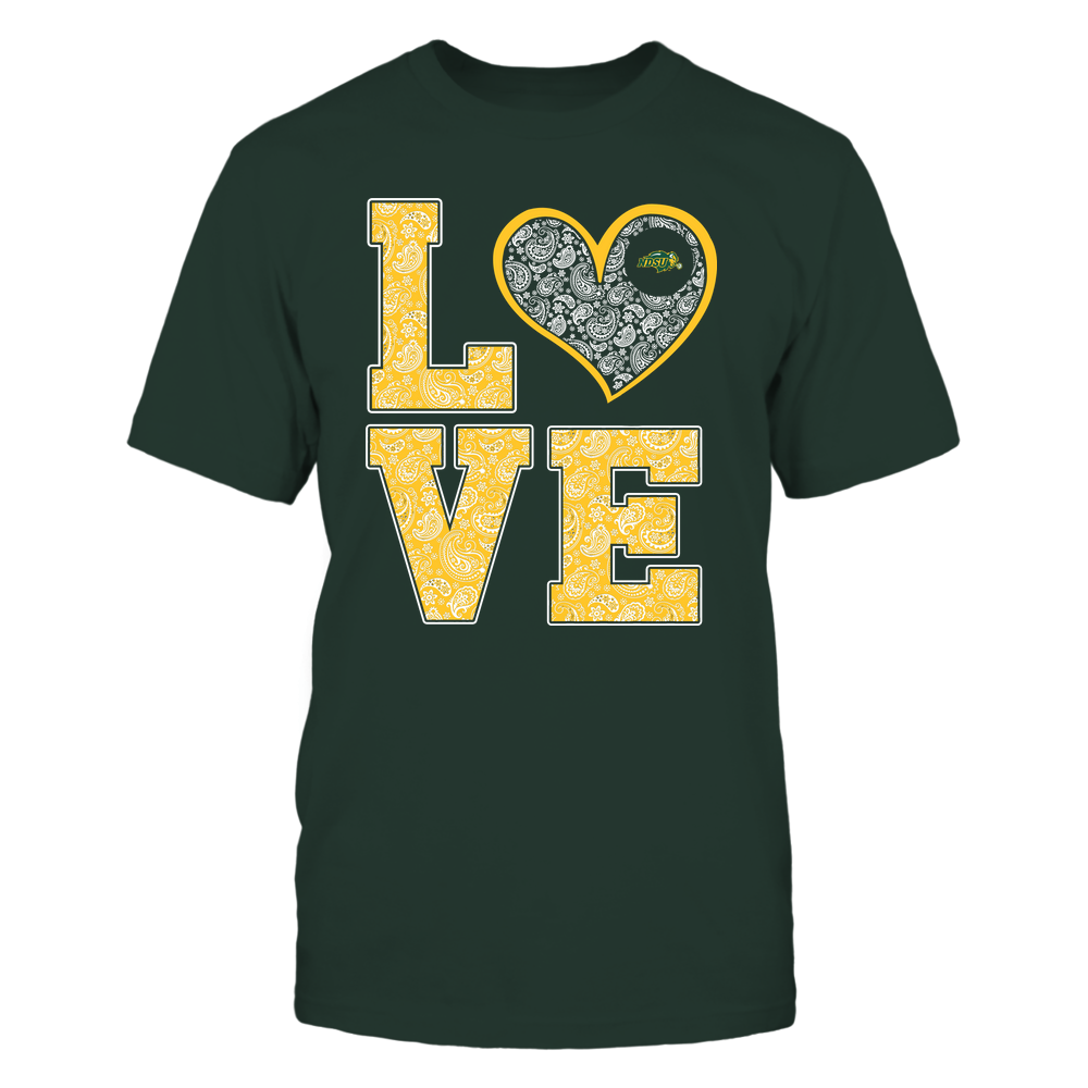 North Dakota State Bison - Stacked Love Heart - Paisley Patterned - Team Front picture