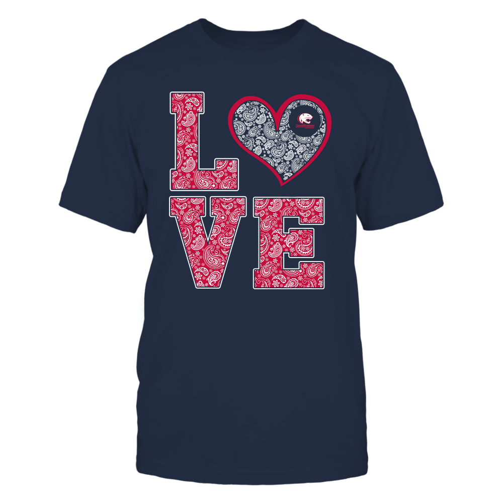 South Alabama Jaguars - Stacked Love Heart - Paisley Patterned - Team Front picture